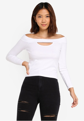 Supre white Ava 3/4 Off The Shoulder Top FF54FAA40F08DEGS_1