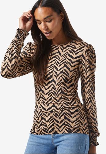 Dorothy Perkins black Zebra Print Shirred Cuff Top B0124AAA0B2E68GS_1