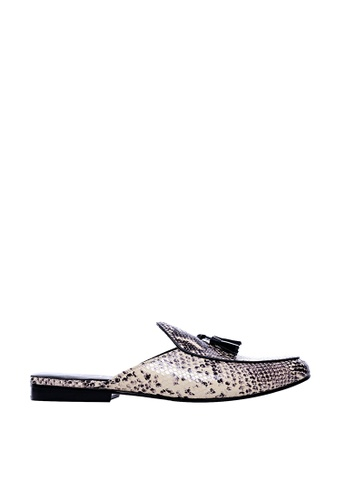 Zeve Shoes white Zeve Shoes Backless Loafer Belgian Slipper - Snake Skin 0F791SH140D350GS_1