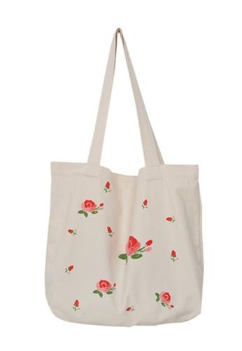 Sunnydaysweety multi Literary Fan Rose Large Capacity Canvas Bag Ca21051306 C9C38ACC39EA99GS_1