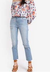 Miss Selfridge blue Light Wash Raw Hem Straight Jeans MI665AA93UNEMY_1