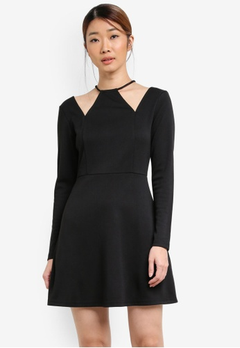 Something Borrowed black Neckline Cut-Out Fit and Flare Dress 1CE97AAC1090DCGS_1
