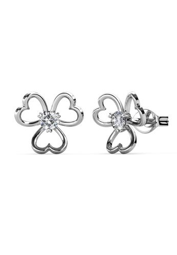 Her Jewellery silver Swarovski® Crystals -Tri Love Earrings (18K White Gold Plated) Her Jewellery HE581AC0SID3MY_1