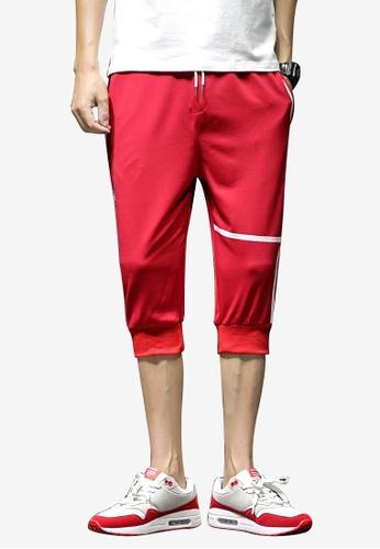 hk-ehunter 紅色 男士條紋描繩七分褲 39C18AABE4E87BGS_1