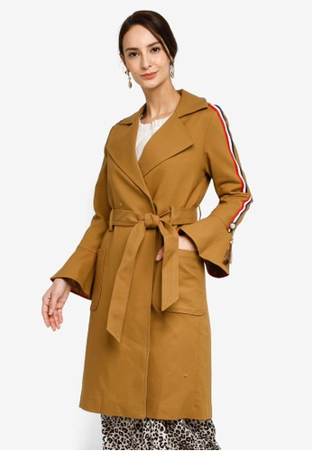 Hopeshow brown Bell Cuff Trench Coat with Tie Belt 4E80DAA1A7F629GS_1