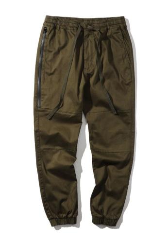 MUSIUM DIV green Zip detail drawstring pants 6C74AAAECDF56CGS_1