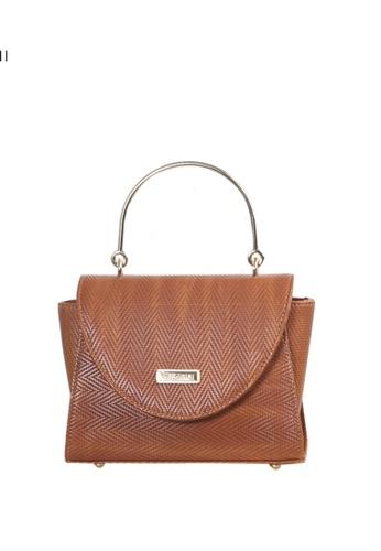 Verchini brown Verchini Textured Metal Top Handle Bag 94EEBACD71ED31GS_1