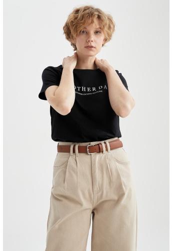 DeFacto black Short Sleeve Cotton T-Shirt C261CAAE06989BGS_1