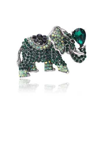 Glamorousky green Fashion Bright Green Elephant Brooch with Cubic Zirconia A770CAC0DC4D6EGS_1