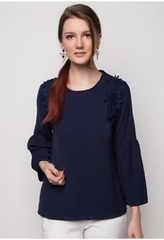 Round Neck With Lace Applique Blouse