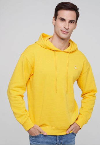United Colors of Benetton yellow Logo Printed Hoodie B0975AA7128FF5GS_1