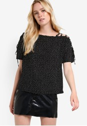 TOPSHOP black Spotty Lattice Shoulder Top TO412AA21RHIMY_1