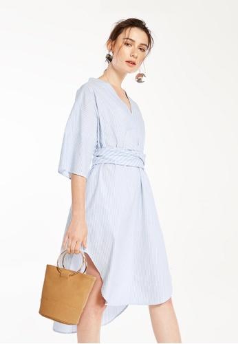 Pomelo blue Rochelle Tie Waist Shirt Dress D8443AA3FFEF00GS_1