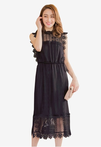 YOCO black Laced Tie Detail Shift Dress 7A2FFAA5F7213EGS_1