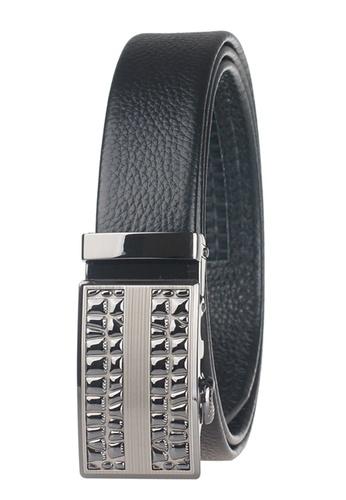 FANYU black Men Slide Buckle Automatic Ratchet Full Grain Leather Belt FA549AC71CMQSG_1