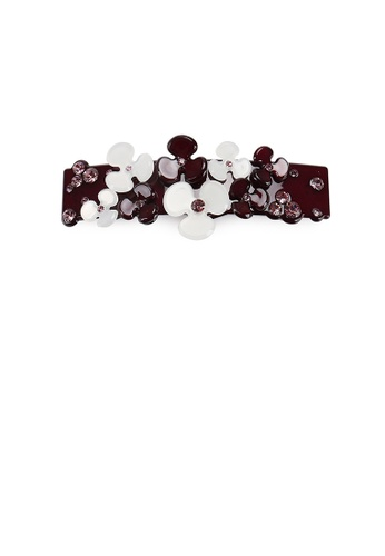 Glamorousky red and purple Fashion Temperament Dark Red Flower Hair Slide with Cubic Zirconia 77665AC20DCAC2GS_1