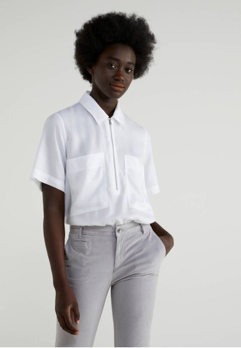 United Colors of Benetton white Blouse with Half Zipper C1C1EAAC30821CGS_1