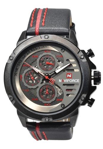 Naviforce black Naviforce - Jam Tangan Pria - Black - Leather Strap - NF9110-E 65731ACD755016GS_1