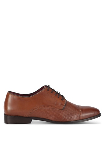 ACUTO brown Textured Oxford Dress Shoes AC283SH0SL5CMY_1