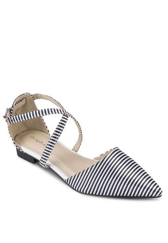 條紋esprit衣服目錄交叉帶平底鞋, 女鞋, 鞋