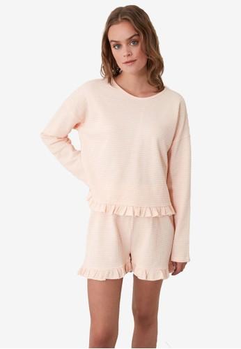 Trendyol pink Ruffle Trim Honeycomb Knit Pajamas Set D3A3AAA9A5E7EEGS_1