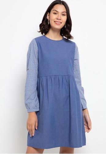 ULTRAVIOLET navy Cotton Mix Dress 497 Navy Gingham D596FAAF1D2D9CGS_1