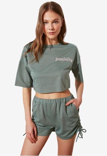 Trendyol 綠色 薄荷綠 Woven Pajamas Set CF965AAC06DA8EGS_1