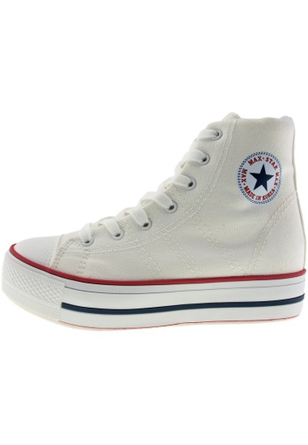 Maxstar 白色 新款韩国鞋C7-5cm時尚帆布布混合女白色 US Women Size MA345SH40HHBTW_1