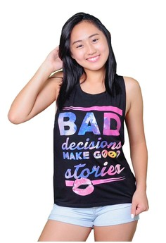 FEF Clothing Women's Bad Decisions Black Muscle Tee