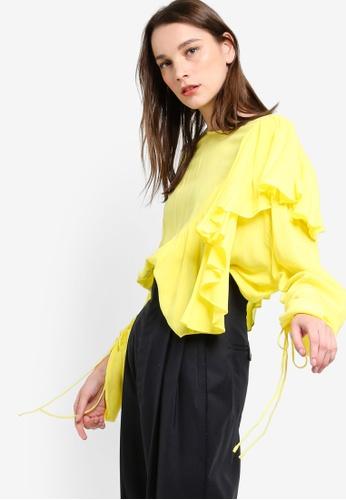 Mango yellow Ruffled Blouse MA193AA81KJEMY_1