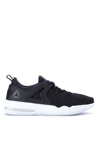 5c093e1921a2c4 three quarter view of mens reebok hexalite x glide running shoes in black  white