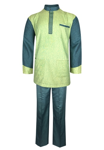 Pacolino green Baju Melayu Cekak Musang with pants For Kids - EBM1802 (Green) D8B51KAECC0ECCGS_1