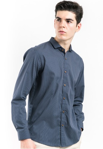 MANLY blue Barstow Slim Fit Pattern Shirt MA880AA35DXKID_1