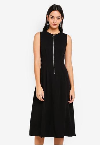 WAREHOUSE black Zip Pleat Dress D07E9AACF0C71DGS_1