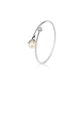 Glamorousky white 925 Sterling Silver Fashion Simple Flower Freshwater Pearl Bangle E9BCBAC98F2D34GS_1