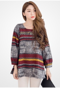 Fringed Detail Striped Tunic Top
