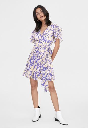 Pomelo purple Layered Butterfly Sleeves Wrap Dress - Purple 17CF8AA81D1DF8GS_1