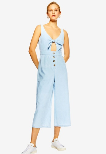 c420845a759c Buy TOPSHOP Tie Horn Button Denim Jumpsuit Online on ZALORA Singapore