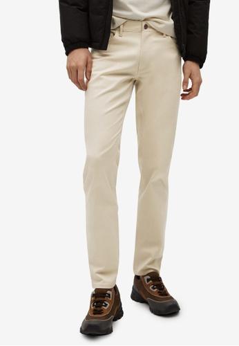 MANGO Man beige Slim Fit Denim-Effect Serge Trousers 1CD66AAFBDA8F2GS_1
