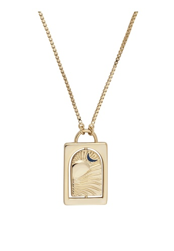 Wanderlust + Co gold Tell Your Story Navy & Gold Necklace A4C8FACCE8ADE6GS_1