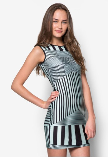 條紋貼身連身裙, 服飾,zalora 心得 服飾