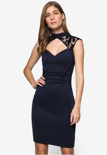 Mk 鏤空高領挖背繡zalora 包包 ptt花飾無袖連身裙, 服飾, 洋裝