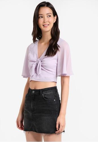 Miss Selfridge purple Lilac Tie Front Angel T-Shirt MI665AA22JXXMY_1