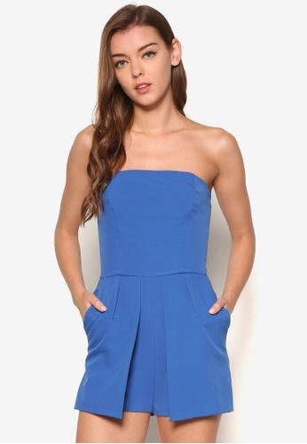 Miss Selfridge blue Blue Bandeau Playsuit MI665AA59OWUMY_1