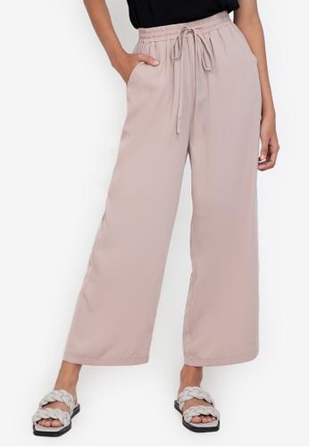 ZALORA BASICS brown Drawstring Casual Pants 5FD52AA9EA38AFGS_1
