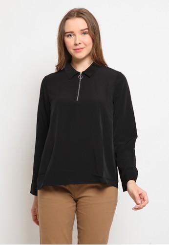 The Executive black Long Sleeve Blouse With Zipper C185BAA99C9A8CGS_1