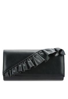 【ZALORA】 Ruffle Detail Clutch Bag