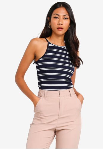 f04acc7865c2f1 ZALORA BASICS navy Basic High Neck Rib Cami Top 38DC2AA8E21E2DGS 1