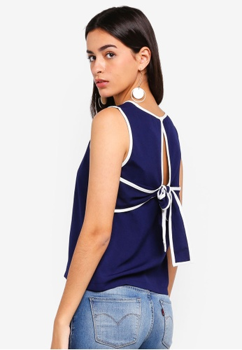 ZALORA navy Back Bow Detailed Top 94294AAFF75C52GS_1
