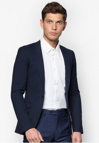Topman 藍色 Blue Textured Skinny Fit Suit Jacket TO250AA53BSGSG_1